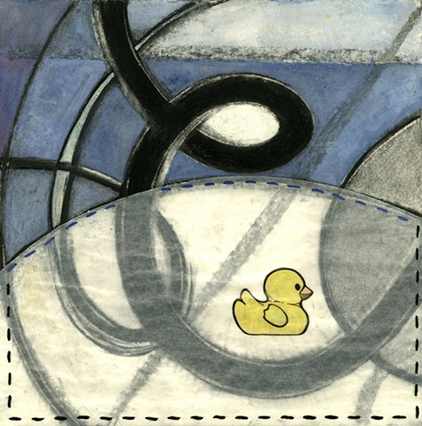 The Stormy Present drawing Paul Flippen water abstraction rubber ducky