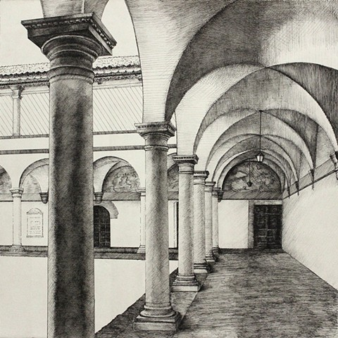Cloister pen and ink works on paper Paul Flippen Saint Francis