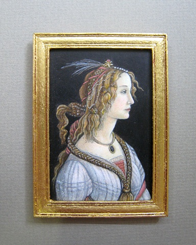 1/12 scale miniature reproduction Botticelli painting by LeeAnn Chellis Wessel