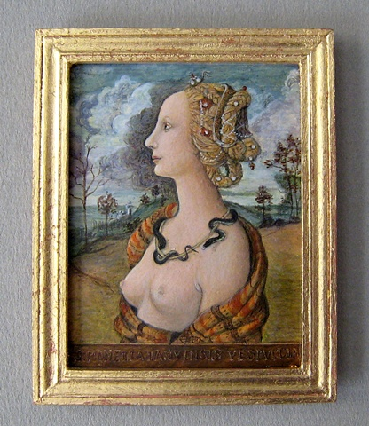 1/12 scale miniature egg tempera reproduction Piero di Cosimo painting by LeeAnn Chellis Wessel