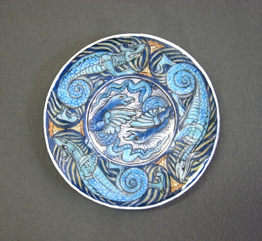miniature reproduction of English Arts & Crafts William de Morgan plate by LeeAnn Chellis Wessel