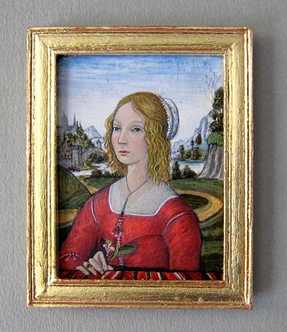 1/12 scale miniature egg tempera reproduction  Ghirlandaio painting by LeeAnn Chellis Wessel