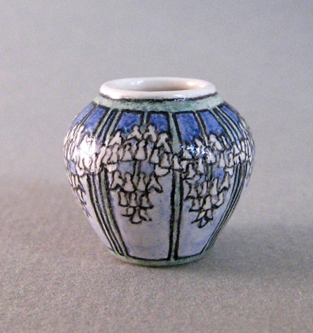 1/12 scale miniature reproduction of Newcomb Vase by LeeAnn Chellis Wessel