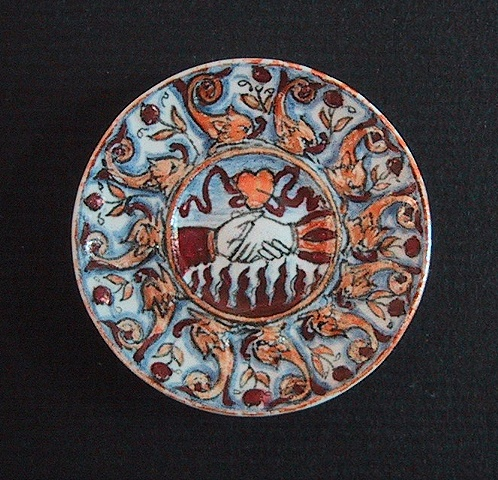 1/12 scale miniature reproduction of  Italian Renaissance ceramic maiolica dish by LeeAnn Chellis Wessel
