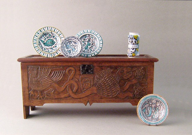 miniature medieval chest miniature pottery