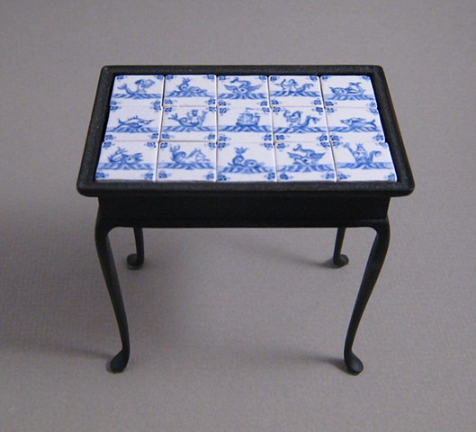 Miniature tile top tea table