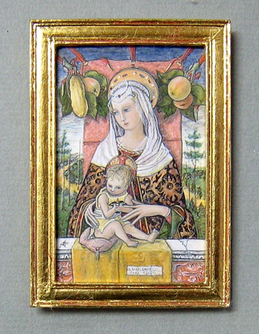 1/12 scale miniature egg tempera reproduction Crivelli painting by LeeAnn Chellis Wessel