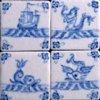 Tile Top Tea Table with Sea Creatures