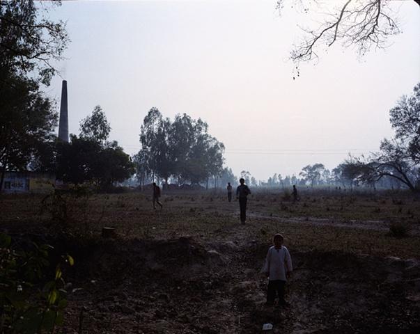 Interrupted cricket game; Dhampur, Uttar Pradesh