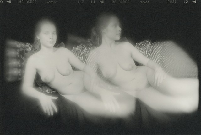 Double exposure nude photograph of Lyss.  Holga camera, traditional darkroom print.
