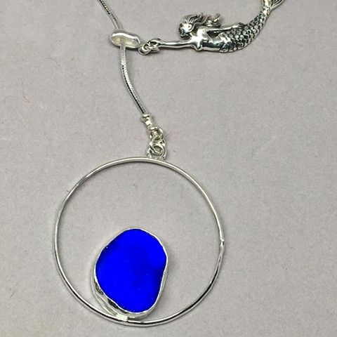 Blue cobalt seaglass lariat with sterling mermaid