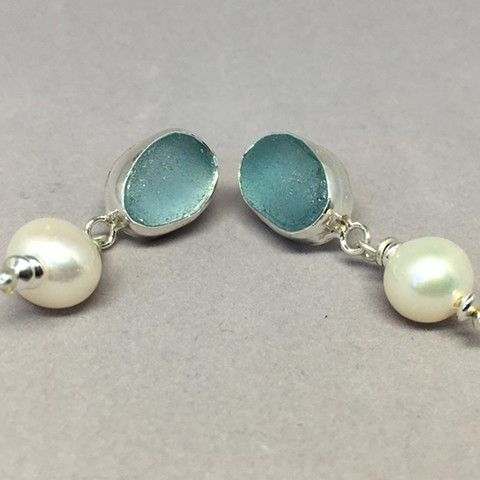 Sky blue fine silver post earrings with top quality pearl.