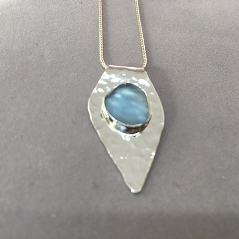 blue seaglass on silver teardrip