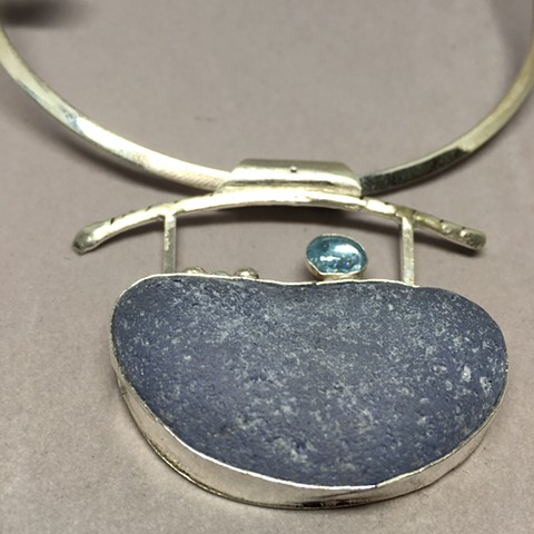 Seaglass/aquamarine/set in fine silver on hammered collar