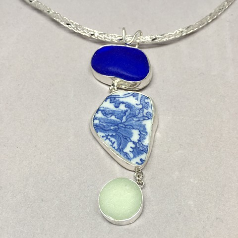Seaglass/pottery set in fine silver