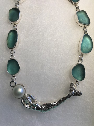 Fine Silver Mermaid/aqua seaglass