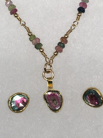 Tourmaline and matching earrings