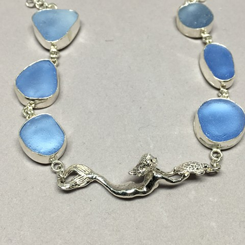 Sky blue seaglass with handcrafted sterling mermaid