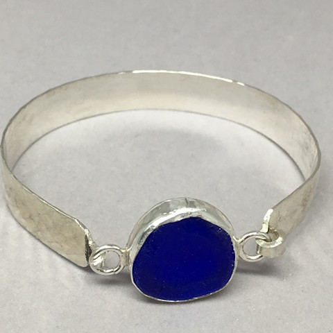 Deep Cobalt blue seagrass sterling cuff