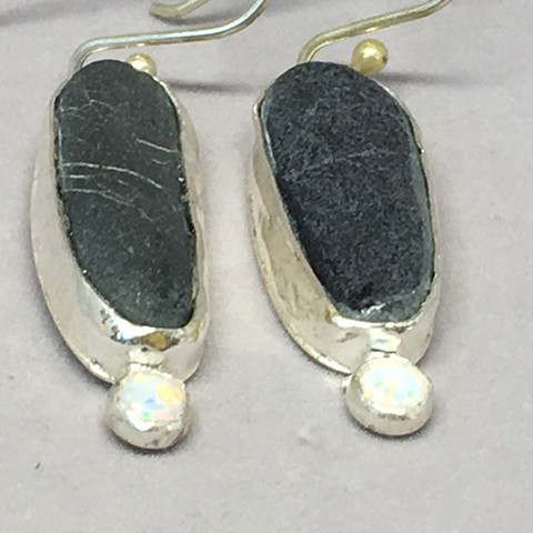 Stones from Lake Champlain with small opals