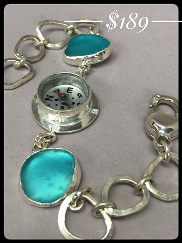 Compass and aqua seaglass