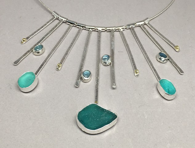 One of a kind lovely teal seaglass from Ireland, aquamarine and 18K gold