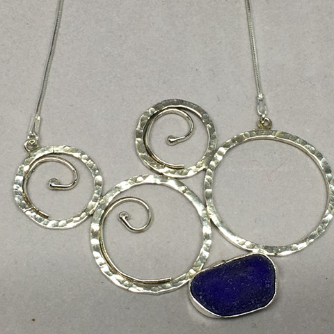 Cobalt seaglass with sterling waves