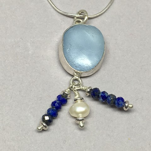 Light blue seaglass with fresh water pearl and lapis