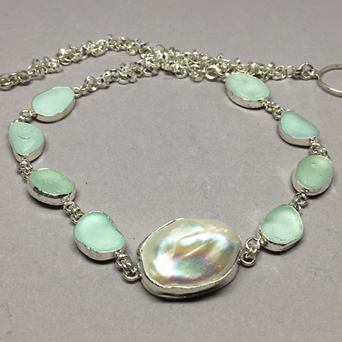 Seafoam green necklace with lustrous pearl