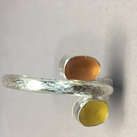 rare yellow seaglass on textured sterling cuff