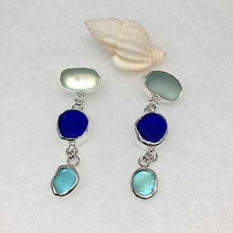 Seafoam, cobalt and aqua seaglass