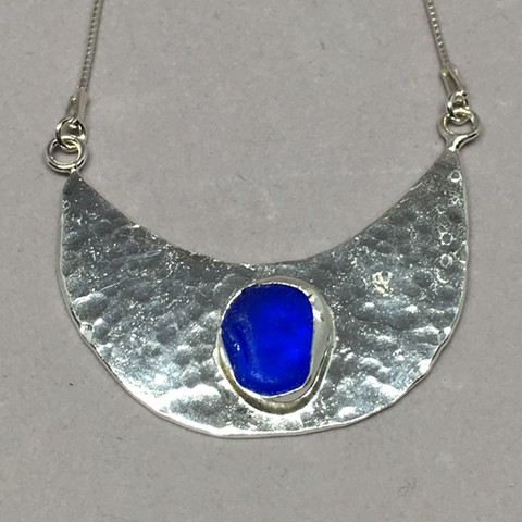 Half moon with cobalt blue seaglass