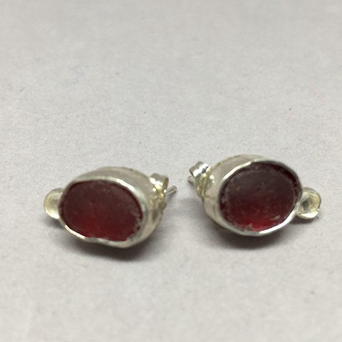 Rare Red Seaglass Post Earrings with white topaz stones.