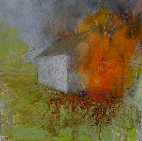 barn fire orange red green landscape powerful strong HOT