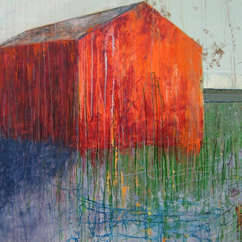 landscape barn orange glow fire contemporary art minimalism, mixed media, green, purple, abstract