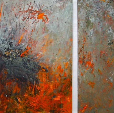 gestural abstraction, bright and vivid colors, orange, silver gray, green gray, charcoal, drips, paint skins