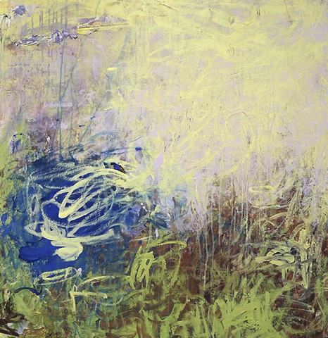 gestural abstraction, bright and vivid colors, Blush, yellow, blue, green, brown, drips, paint skins