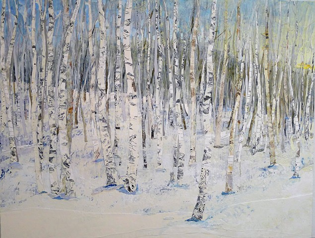 winter mountain snow birch trees aspen trees
