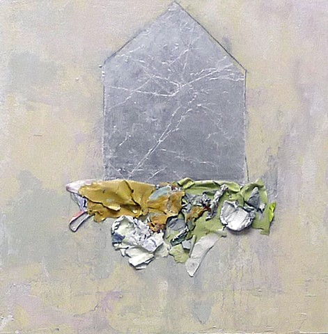 Silver house, chocolate wrappers, paint skins, ethereal, mixed media, textural