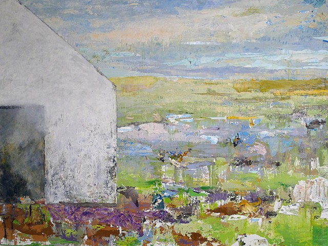 white barn, pasture, pond, water, rich color texture , purples metallic blues, greens, abstract landscape New England
