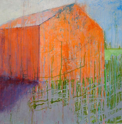 contemporary barn, landscape, bright, fun, cheery, orange, melon color, pink, green, blue