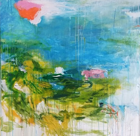 abstract landscape, spring summer blooms, garden art, water, colorful palette