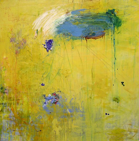 Abstract  expressionism, gestural painting,  yellow, intuitive, colorful palette