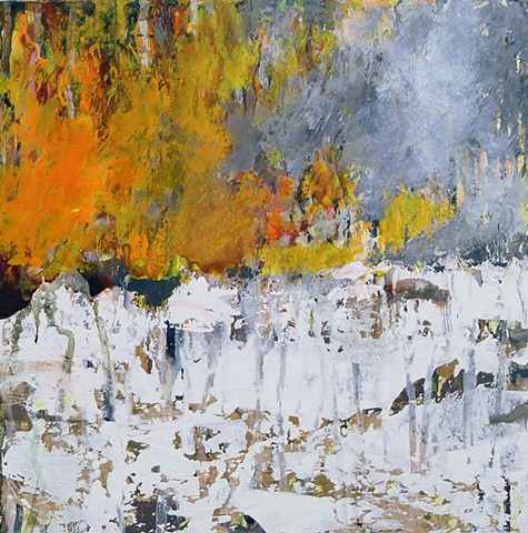 winter landscape, snow, orange, fire, foliage