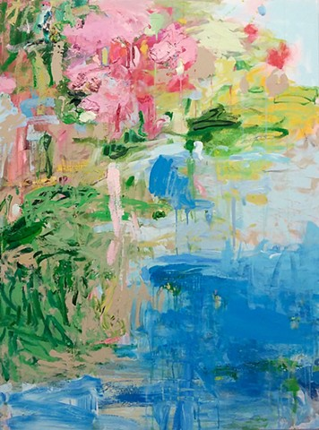 Abstract landscape, spring summer blooms water colorful palette
