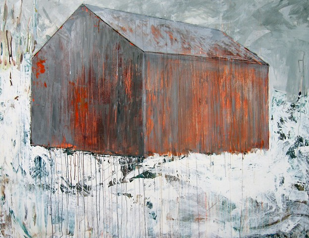 winter landscape barn orange glow fire contemporary art minimalism