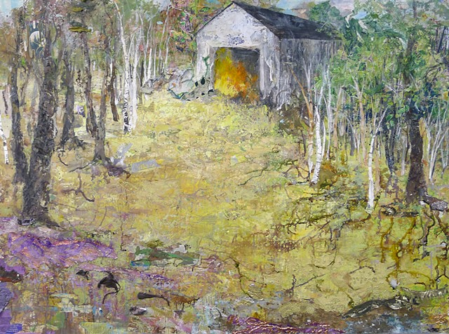 Barn contemporary landscape, spring, textural, texture, trees, birch tree, yellow, green, collage, mixed media