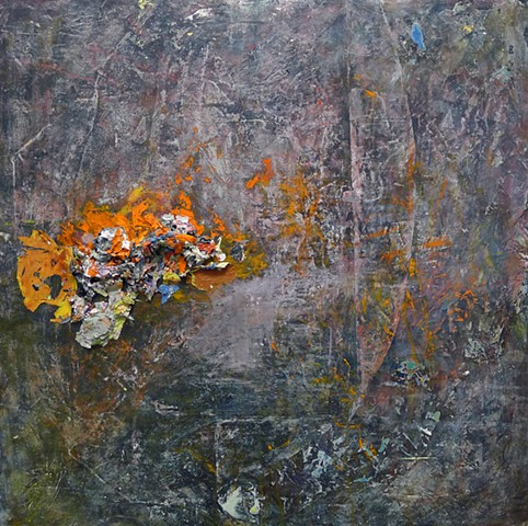gestural abstraction, dark colors, paint skins, orange, charcoal, lilac,