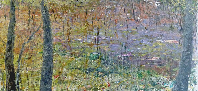Large horizontal landscape paintig, meditation, contemplative spiritual purple field trees greens yellow monet impressionistic spiritual beautiful contemplative meditative
