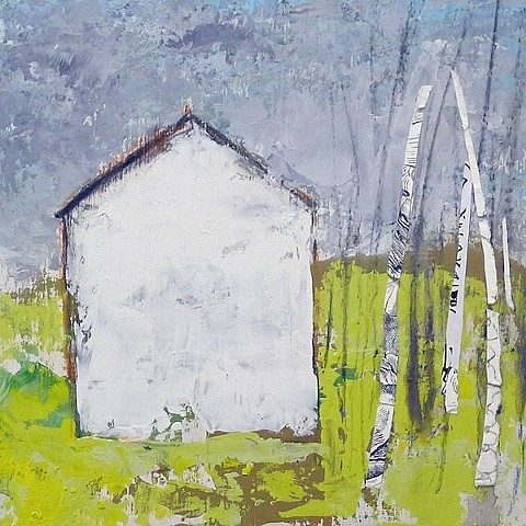 white house, white birch trees, green, contemporary landscape, mixed media